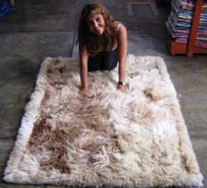 Suri alpaca fur carpet, long-haired fur, 300 x 200 cm