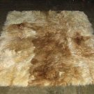 Baby alpaca fur carpet from the Andes of Peru, white and brown spots, 90 x 60 cm
