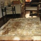 Soft light brown babyalpaca fur rug, 90 x 60 cm