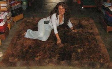Dark brown baby alpaca fur rug from Peru, 220 x 200 cm