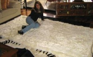 Original from Peru, white baby alpaca fur rug, 150 x 110 cm