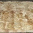 Soft baby alpaca fur with light beige and white spots, 80 x 60 cm