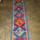 Hand-weaved rug from Peru, Runner with Rhombus designs, 4'92 x 0'98 ft.