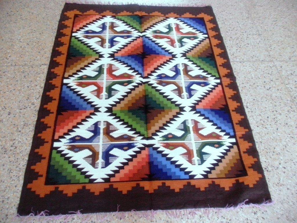 Peruvian geometric designed hand weaved rug