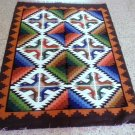 Peruvian geometric designed hand weaved rug