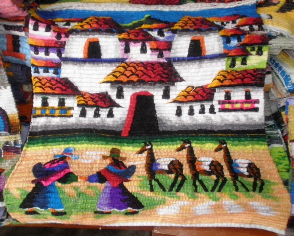 Peruvian motive wall rug , Village of Chincheros