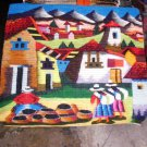 Traditionel peruvian hand weaved rug, marketplace