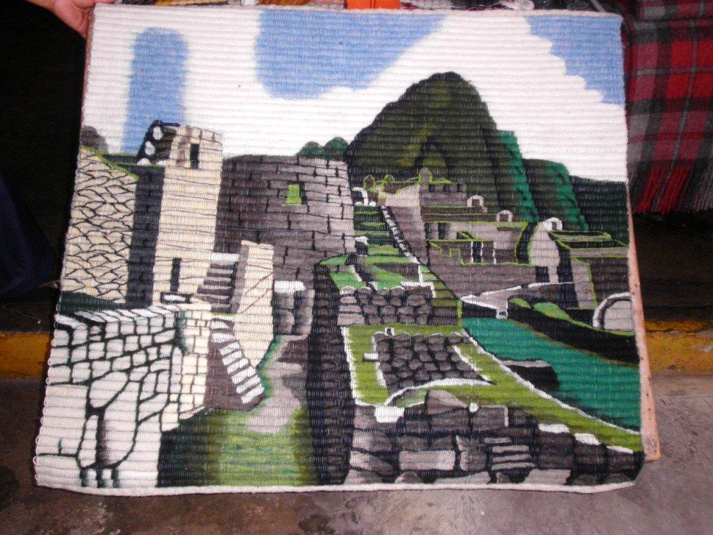 Traditionel peruvian hand weaved rug, Machu Picchu