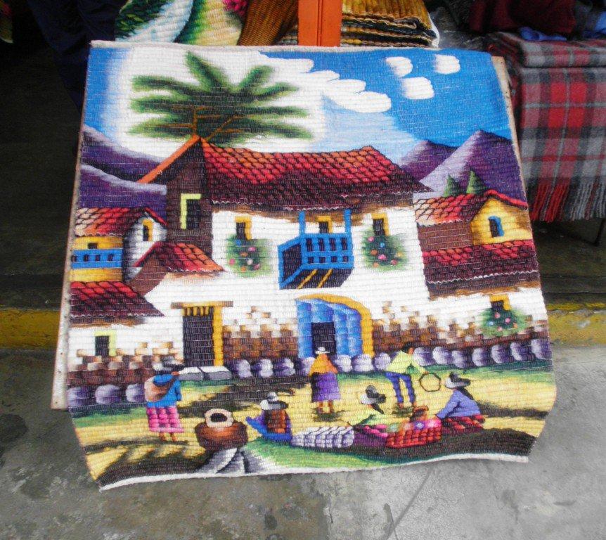Peruvian hand weaved rug, village square