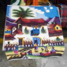 Peruvian hand weaved rug, village square