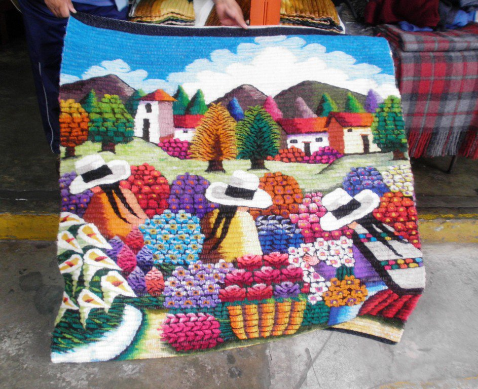 Hand weaved wool rug, flower market in the Andean