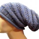 Trendy knitted woolen hat, made of pure Alpaca wool, one size, Blue
