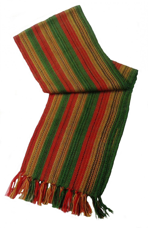 """Unisex 100% Green Alpaca Wool Scarf, Shawl Stripes 63""""x 4.72"""""""