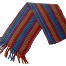 "Unisex 100% Red Alpaca Wool Scarf, Shawl Stripes 63""x 4.72"""
