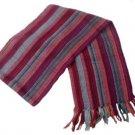 """Unisex 100% Multicolor Alpaca Wool Scarf, Shawl Stripes 63""""x 4.72"""""""