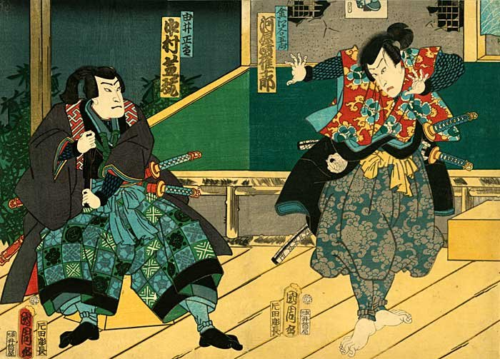 """Two Samurai Surprise Attack"" BIG Japanese Art Print"