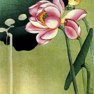 """Songbird and Lotus"" BIG Japanese Art Print by Koson"