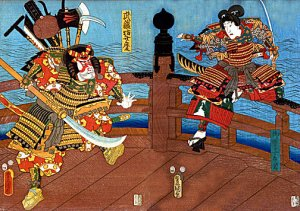 """Samurai on Shijo Bridge"" BIG Japanese Art Print Art"