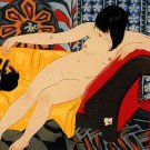 """Nude Playing with Cat"" BIG Art Deco Japanese Print Cat"
