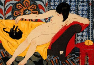 """""""Nude Playing with Cat"""" BIG Art Deco Japanese Print Cat"""