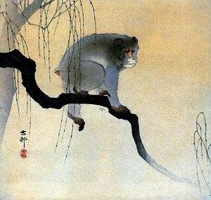 """Monkey on Branch"" BIG Japanese Art Print by Koson Art"