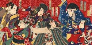 """Kabuki Actors"" BIG Japanese Art Print by Kunimasa"