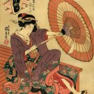 """Lady About To Get Wet"" BIG Japanese Art Print Kunisada"