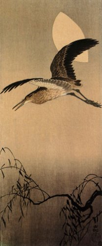 """Heron with Moon"" BIG Japanese Art Print by Koson"