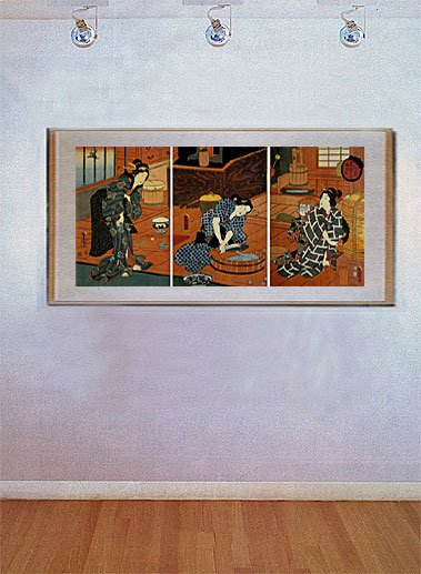 """Cooking in a Japanese Kitchen BIG"" Japanese Art Print"
