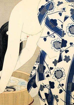 """Washing Her Hair"" Japanese Art Print by Ito Shinsui"