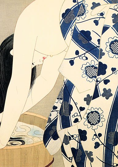 """Washing Her Hair"" HUGE Japanese Print by Ito Shinsui"