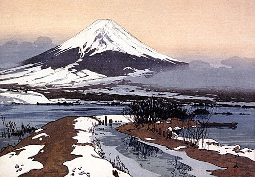 """Fuji From Lake Kawagachi"" Japanese Art Print Yoshida"