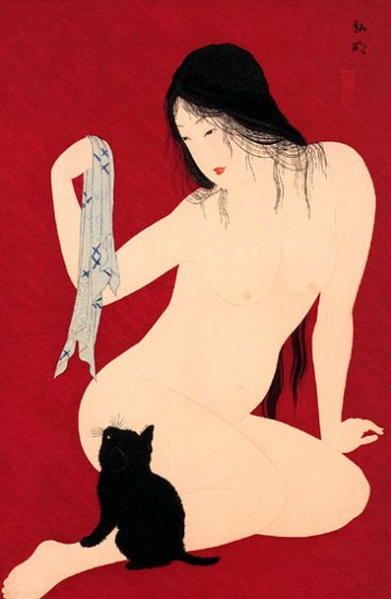"""Virgin and Black Cat"" Japanese Art Print by Hiroaki"