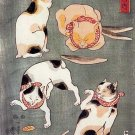 """Four Happy Cats"" Japanese Cat Art Print by Kuniyoshi"