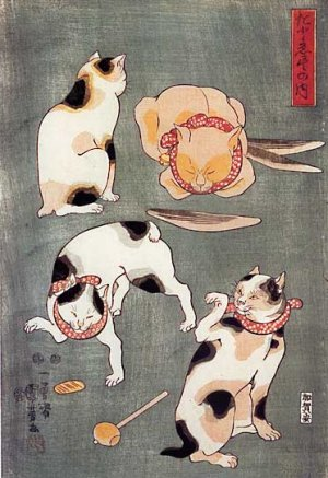 &quot;Four Happy Cats&quot; Japanese Cat Art Print by Kuniyoshi