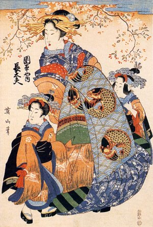 """Mother & Daughters"" Japanese Art Print Japan Art Eizan"