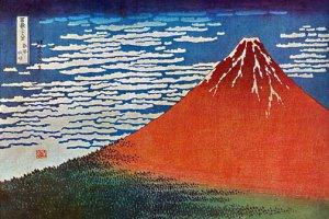 """Red Mt.Fuji"" Japanese Art Print by Hokusai Japanese"