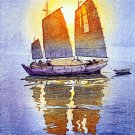 """Sailing Boats Morning Sun"" Japanese Art Print Yoshida"