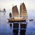 """Sailing Boats Forenoon"" Japanese Art Print by Yoshida"