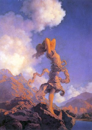 """Ecstasy"" BIG Maxfield Parrish Art Deco Print"