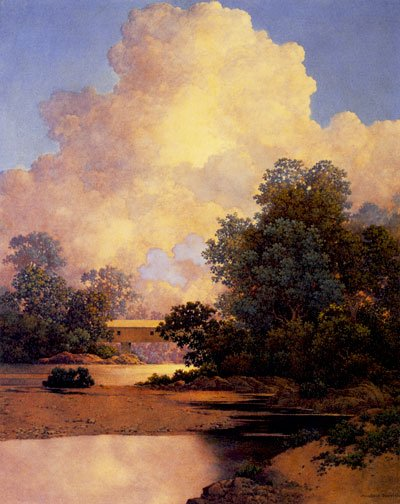 """Thunderheads"" BIG Maxfield Parrish Art Deco Print"