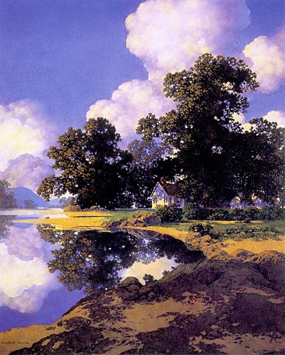 """Sheltering Oaks"" BIG Maxfield Parrish Art Deco Print"