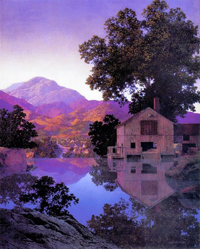 """Mill Pond"" BIG Maxfield Parrish Art Deco Print"
