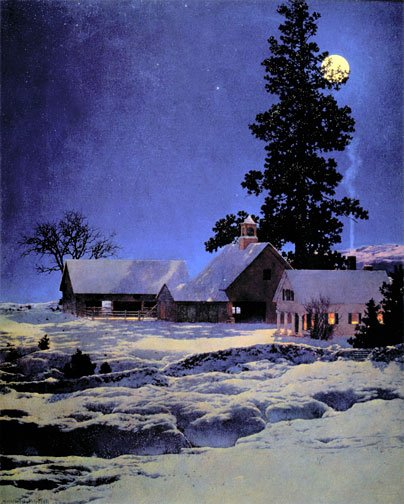"""Moonlight Night"" BIG Maxfield Parrish Art Deco Print"