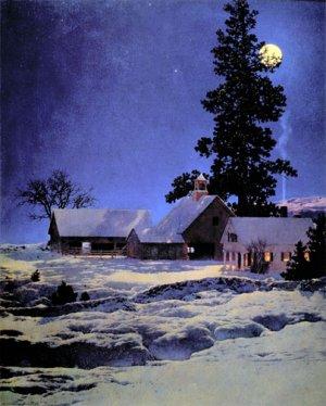 """""""Moonlight Night"""" BIG Maxfield Parrish Art Deco Print"""