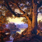"""Riverbank Autumn"" BIG Maxfield Parrish Art Deco Print"