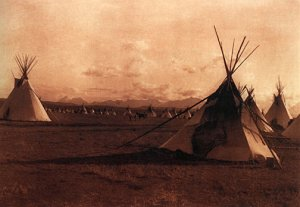 """Indian Encampment""BIG Native American Curtis Art Photo"