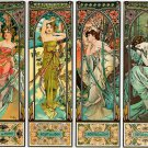 """Times of the Day"" Art Nouveau/Deco Print A. Mucha"