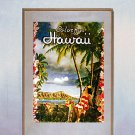 """Colorful Hawaii""Old Hawaiian Hula surfing Print Hawaii"