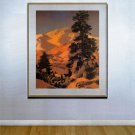 """New Hampshire Winter"" BIG Maxfield Parrish Art Deco"